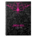 Damascos negros y rosados del vintage libreta