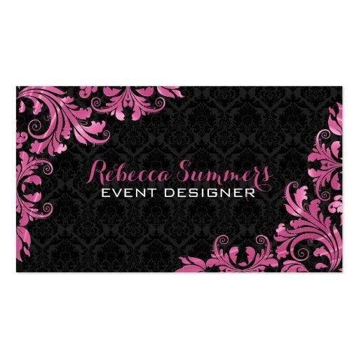 Damascos rosados elegantes del negro del cordón de