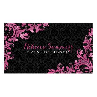 Damascos rosados elegantes del negro del cordón de tarjetas de visita