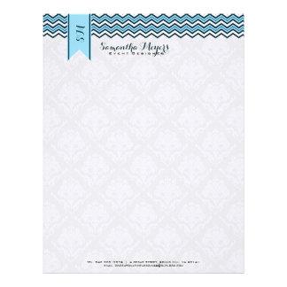 Damascos y azul y blanco de Chevron Membrete A Diseño