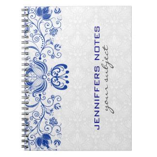 Damascos y remolinos 2 del vintage del azul real y notebook