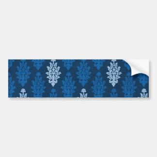 damask02 ROYAL BLUE SQUARES LIGHT WHITE DAMASK DEC Bumper Sticker