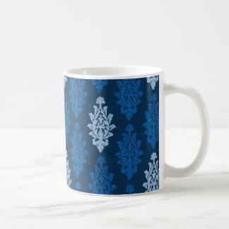 damask02 ROYAL BLUE SQUARES LIGHT WHITE DAMASK DEC Classic White Coffee Mug