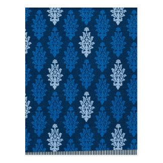 damask02 ROYAL BLUE SQUARES LIGHT WHITE DAMASK DEC Postcard