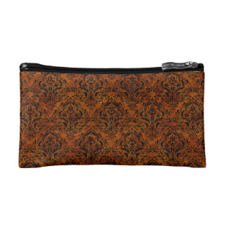DAMASK1 BLACK MARBLE & BROWN MARBLE (R) COSMETIC BAG