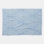 damask21 LIGHT BLUE WHITE DAMASK DECORATIVE SCROLL Hand Towels