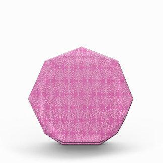 damask22  HOT PINK WHITE DAMASK DECORATIVE SCROLL Acrylic Award