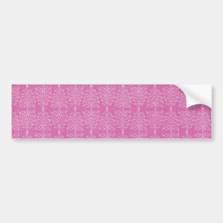 damask22  HOT PINK WHITE DAMASK DECORATIVE SCROLL Car Bumper Sticker