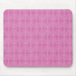 damask22  HOT PINK WHITE DAMASK DECORATIVE SCROLL Mouse Pad
