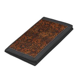 DAMASK2 BLACK MARBLE & BROWN BURL WOOD (R) TRIFOLD WALLETS