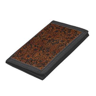 DAMASK2 BLACK MARBLE & BROWN BURL WOOD TRI-FOLD WALLET