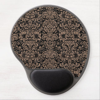DAMASK2 BLACK MARBLE & BROWN COLORED PENCIL GEL MOUSE PAD