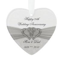 Damask 25th Wedding Anniversary Acrylic Ornament