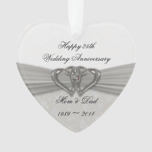 Damask 25th Wedding Anniversary Acrylic Ornament Zazzle