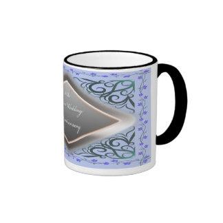 Damask 25th Wedding Anniversary Black Ringer Mug
