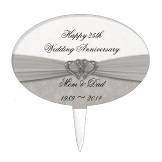 Damask 25th Wedding Anniversary Cake Topper