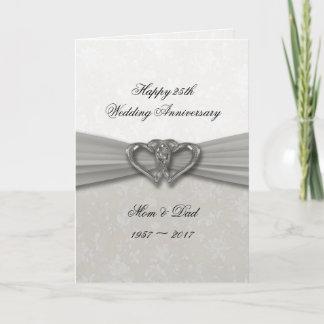 Damask 25th Wedding Anniversary Greeting Card