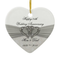 Damask 25th Wedding Anniversary Ornament