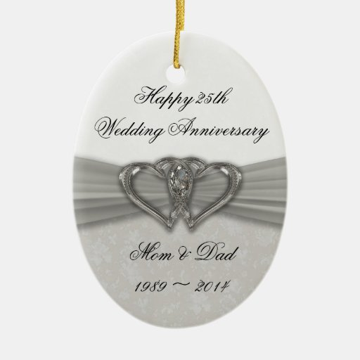 25th Wedding Anniversary Gift Experiences : Damask 25th Wedding Anniversary Ornament Zazzle