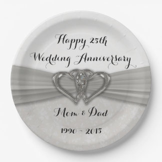 Damask 25th Wedding Anniversary Paper Party Plates