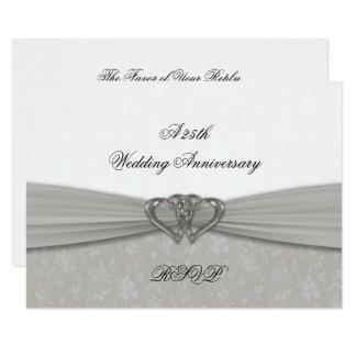 Damask 25th Wedding Anniversary RSVP Card