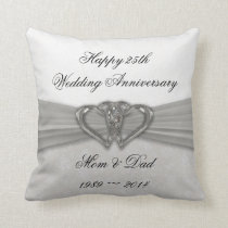 Damask 25th Wedding Anniversary Throw Pillow