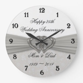 Silver Wedding Anniversary Wall Clocks Zazzle