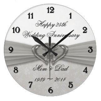 Damask 25th Wedding Anniversary Wall Clock