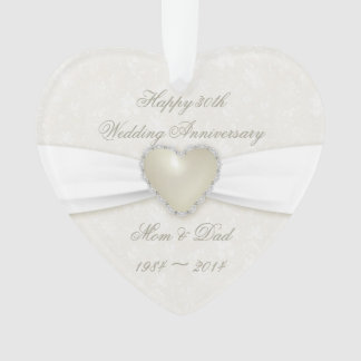 Damask 30th Wedding Anniversary Acrylic Ornament