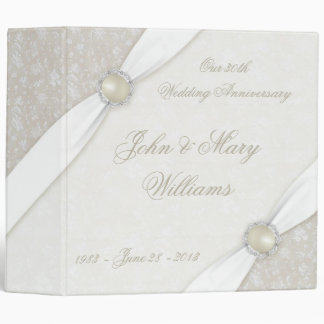 Damask 30th Wedding Anniversary Binder