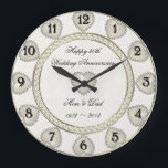 "Damask 30th Wedding Anniversary Clock<br><div class=""desc"">A Digitalbcon Images Design featuring a Pearl color, gold and Damask design theme with a variety of custom images, shapes, patterns, styles and fonts in this one-of-a-kind &quot;Damask Pearl Wedding Anniversary&quot; Clock. This attractive and elegant design comes complete with customizable text lettering to suit your own special design and makes...</div>"