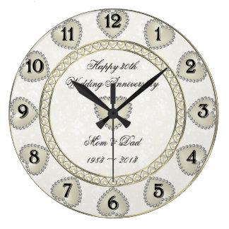 Damask 30th Wedding Anniversary Clock