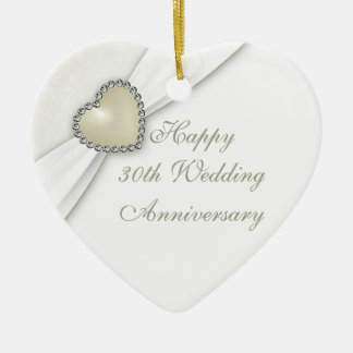 Damask 30th Wedding Anniversary Heart Ornament