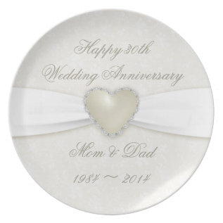 Damask 30th Wedding Anniversary Melamine Plate at Zazzle