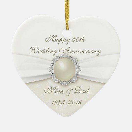 Damask 30th Wedding Anniversary Ornament Zazzle