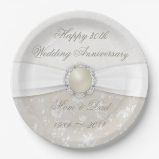 Damask 30th Wedding Anniversary Paper Party Plate