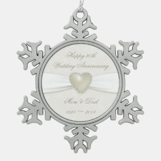 Damask 30th Wedding Anniversary Pewter Ornament at Zazzle