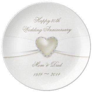 Damask 30th Wedding Anniversary Porcelain Plate at Zazzle