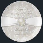 "Damask 30th Wedding Anniversary Porcelain Plate<br><div class=""desc"">A Digitalbcon Images Design featuring a satin pearl color theme with a variety of custom images, shapes, patterns, styles and fonts in this one-of-a-kind &quot;Damask Pearl Wedding Anniversary&quot; Melamine Party Plate. This elegant and attractive design makes the perfect Anniversary gift for the Anniversary couple or as a complete dinner set...</div>"