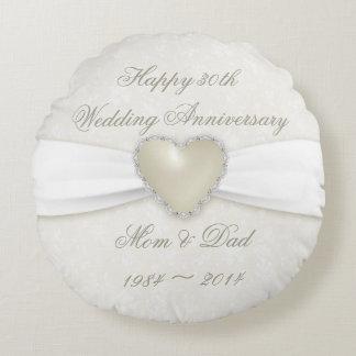 Damask 30th Wedding Anniversary Round Throw Pillow