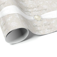 Damask 30th Wedding Anniversary Wrapping Paper