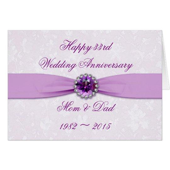 33rd Wedding Anniversary Gift: Damask 33rd Wedding Anniversary Greeting Card