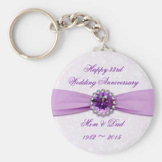 Damask 33rd Wedding Anniversary Key Chain