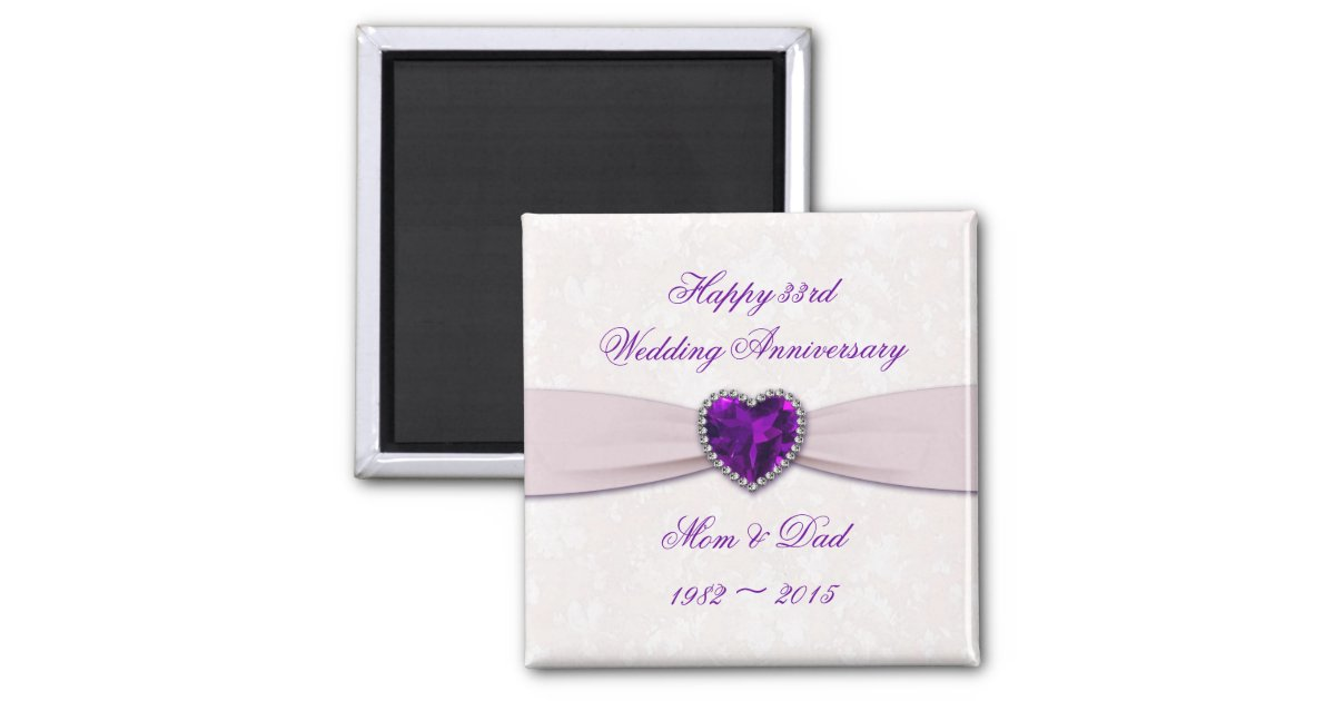 33rd Wedding Anniversary Gift: Damask 33rd Wedding Anniversary Magnet