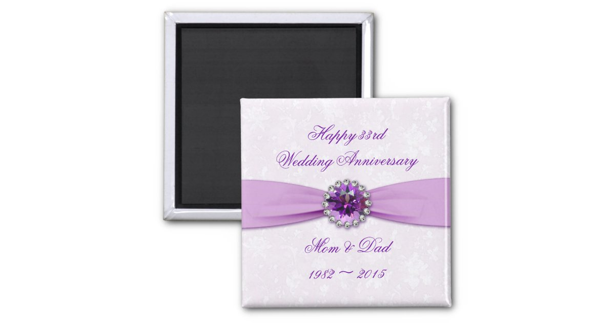 Damask 33rd Wedding Anniversary Magnet Zazzle