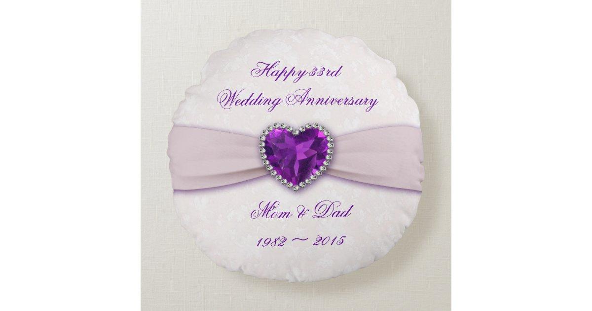 33rd Wedding Anniversary Gifts: Damask 33rd Wedding Anniversary Round Throw Pillow