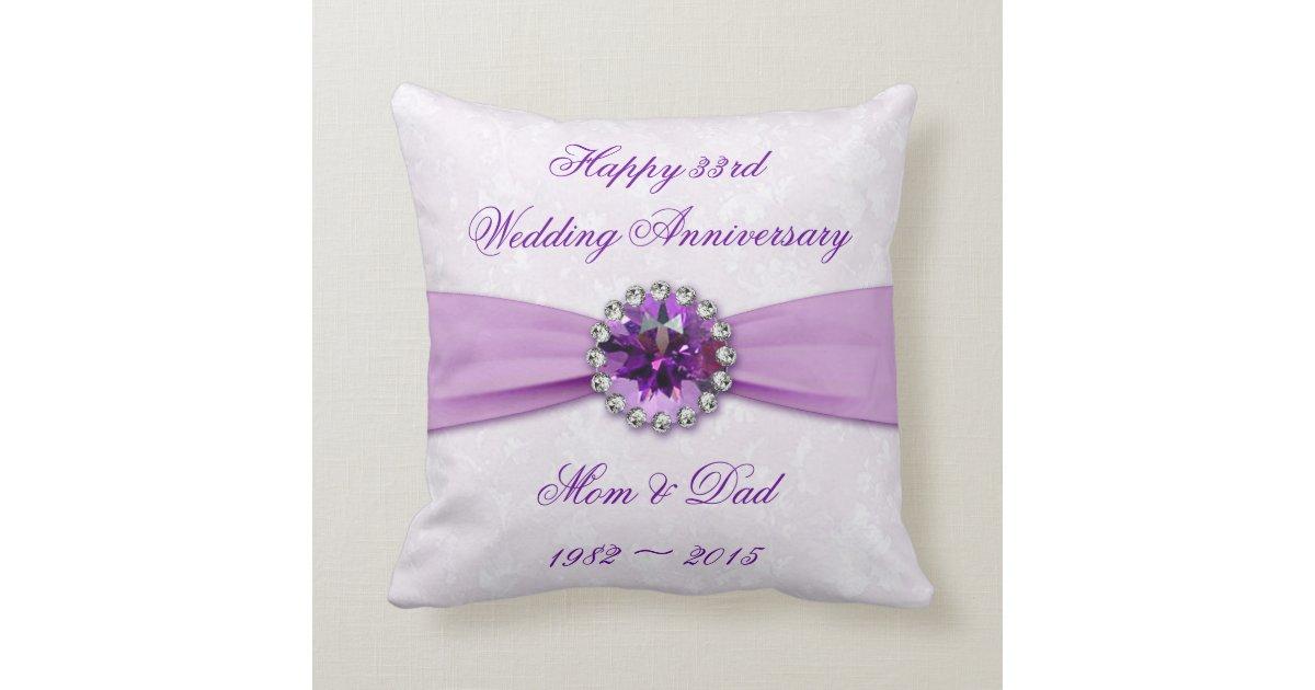 Damask 33rd Wedding Anniversary Throw Pillow Zazzle
