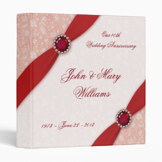 "Damask 40th Wedding Anniversary 1"" Binder"