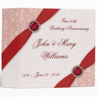 "Damask 40th Wedding Anniversary 2"" Binder"