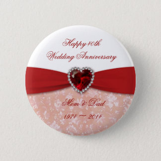 Damask 40th Wedding Anniversary Design Button